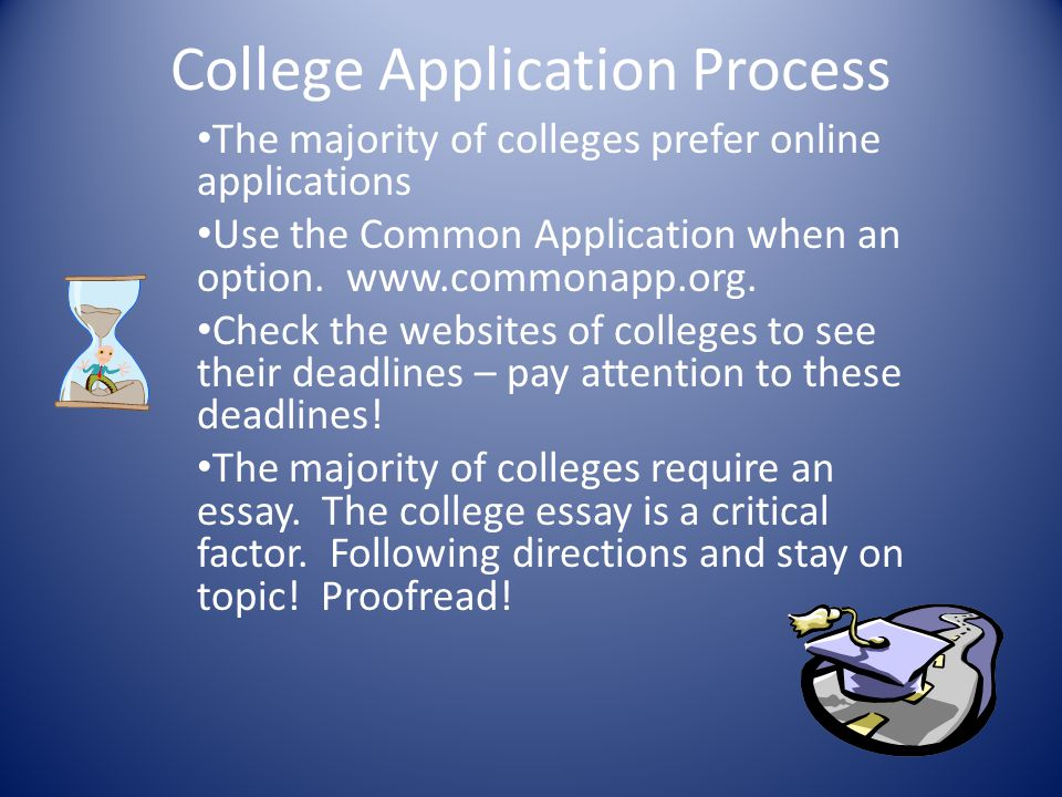 College Application Process The majority of colleges prefer online applications Use the Common Application when an option. www.commonapp.org. Check th