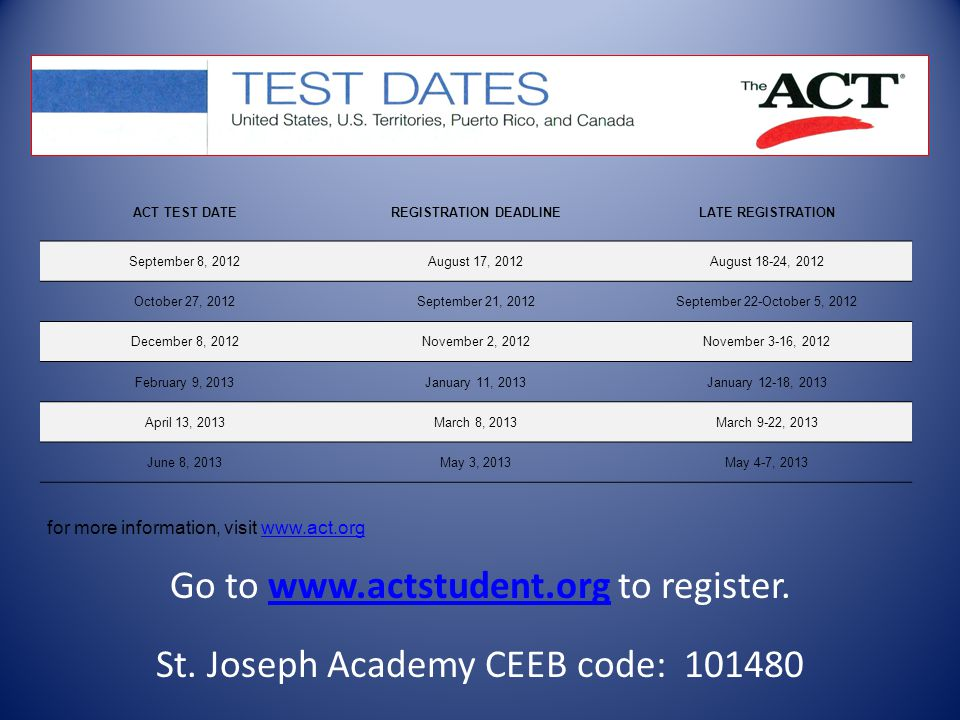 Go to www.actstudent.org to register.www.actstudent.org St.