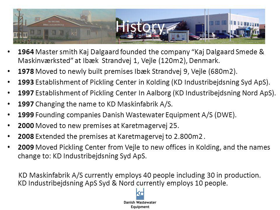 1964 Master smith Kaj Dalgaard founded the company Kaj Dalgaard Smede & Maskinværksted at Ibæk Strandvej 1, Vejle (120m2), Denmark. 1978 Moved to newl