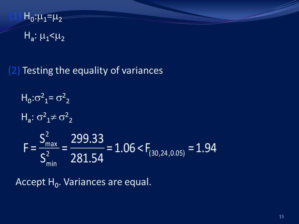 (3) (4) t (52,0.05) =1.675 < p<0.05, Reject H 0.