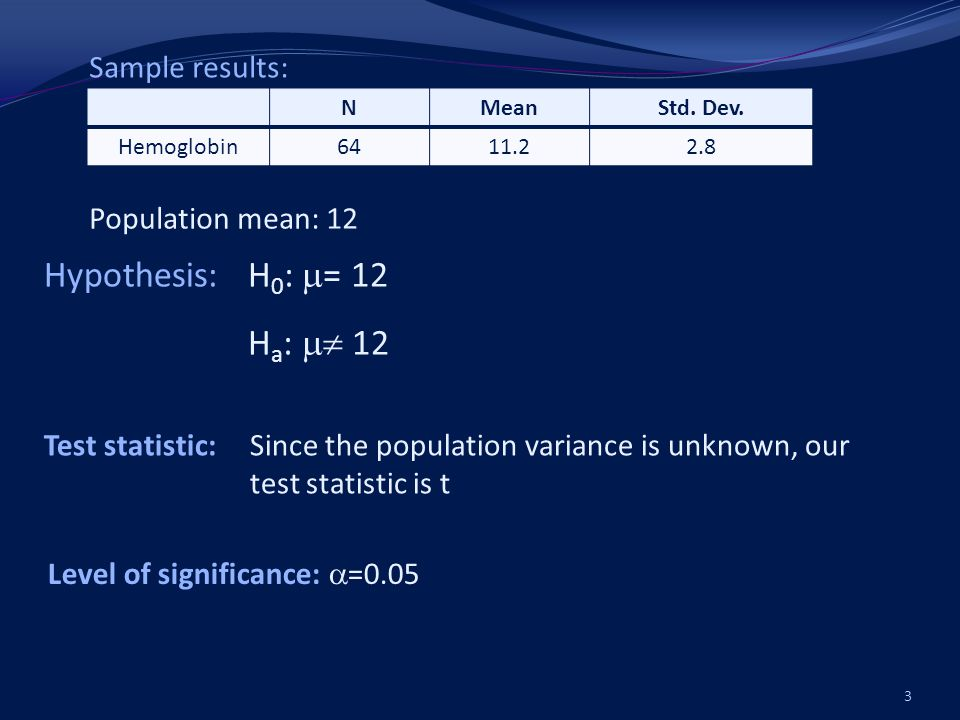 4 t ( /2,n-1) = t (0.025,64-1) 2.00 t cal > t table Reject H 0 Population mean is different from 12.