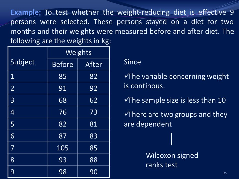 Example: To test whether the weight-reducing diet is effective 9 persons were selected.