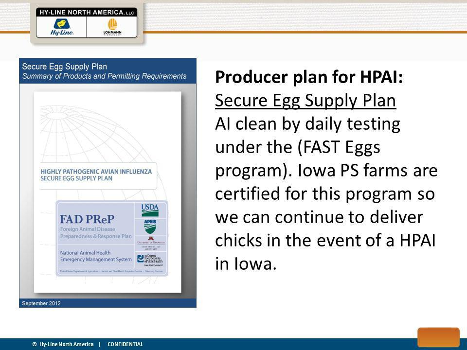 Producer plan for HPAI: Secure Egg Supply Plan AI clean by daily testing under the (FAST Eggs program).