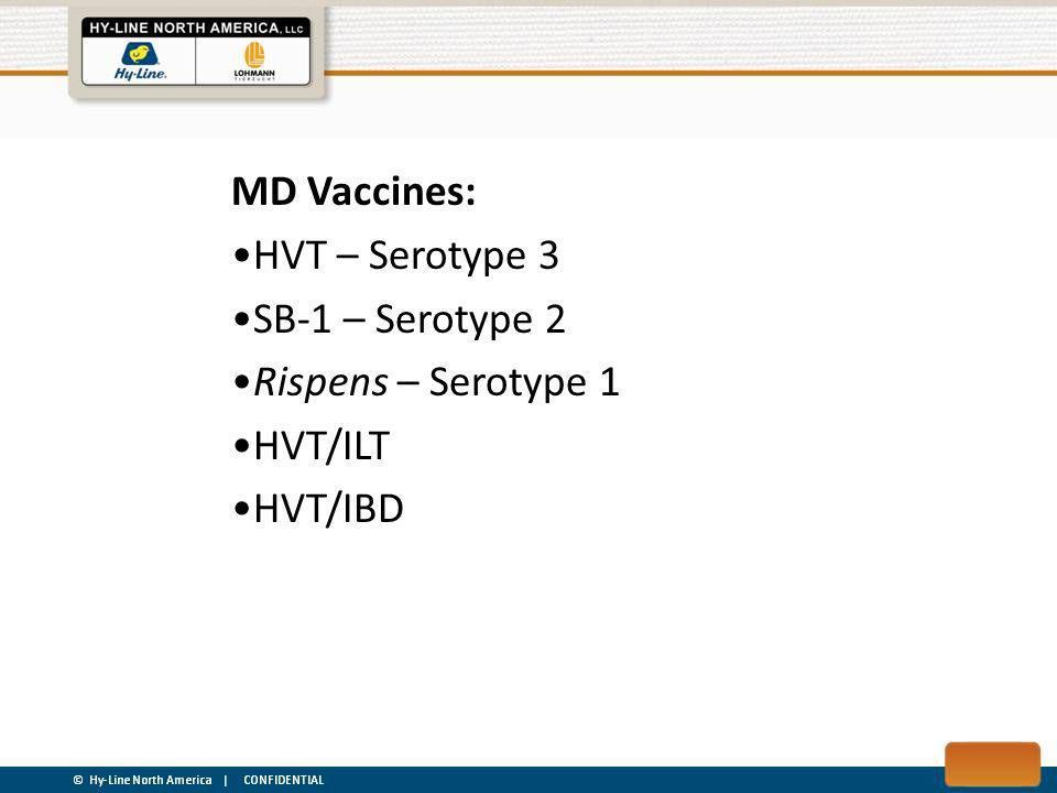 MD Vaccines: HVT – Serotype 3 SB-1 – Serotype 2 Rispens – Serotype 1 HVT/ILT HVT/IBD