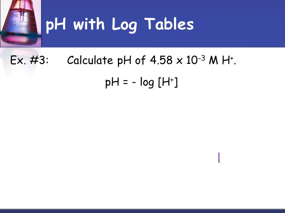 pH with Log Tables Ex. #3:Calculate pH of 4.58 x 10 -3 M H +.