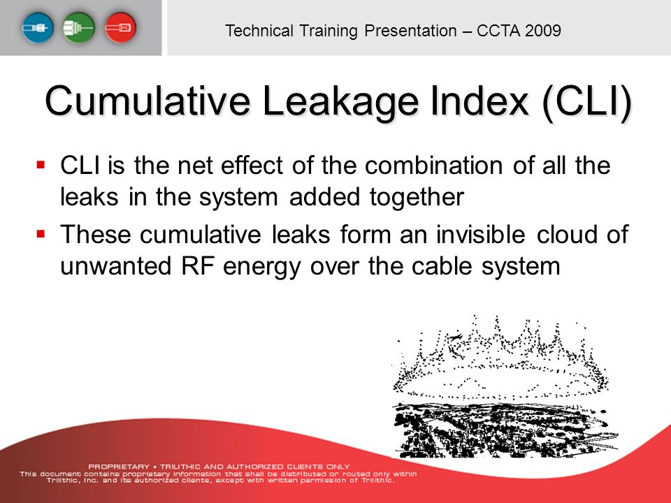 Technical Training Presentation – CCTA 2009 Cumulative Leakage Index (CLI) CLI is the net effect of the combination of all the leaks in the system add