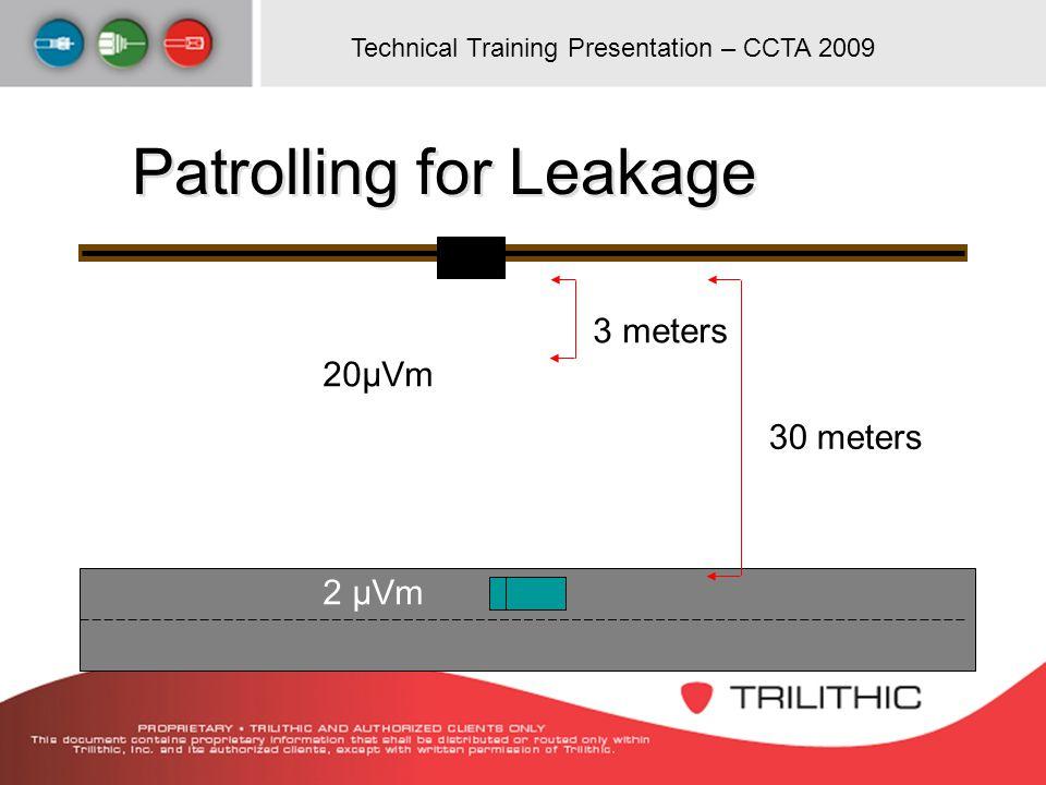 Technical Training Presentation – CCTA 2009 30 meters 3 meters 20µVm 2 μVm Patrolling for Leakage