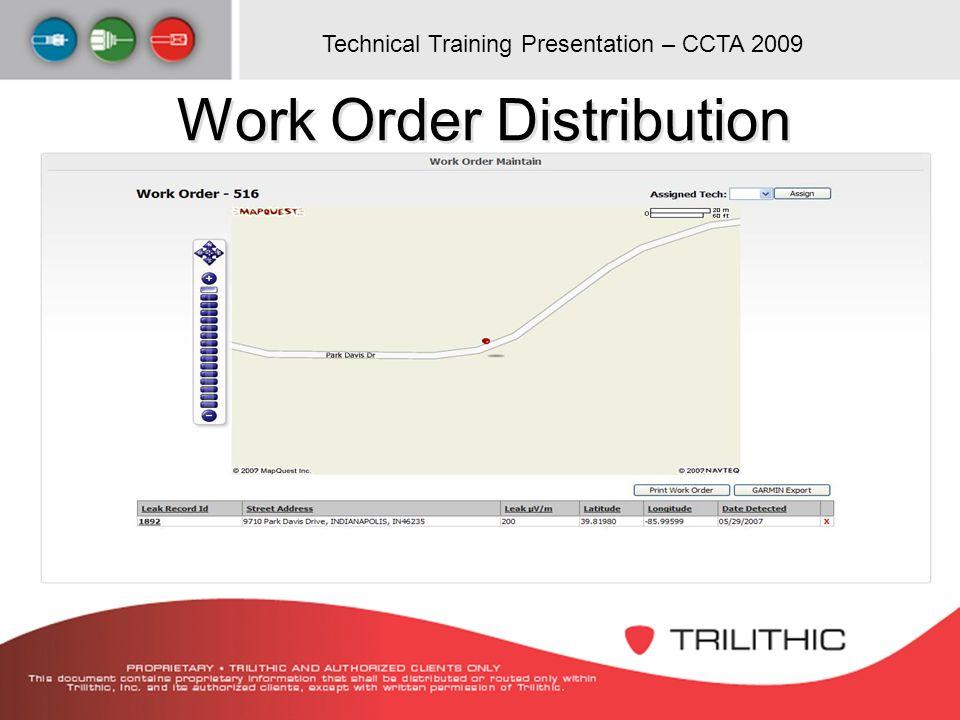 Technical Training Presentation – CCTA 2009 Work Order Distribution