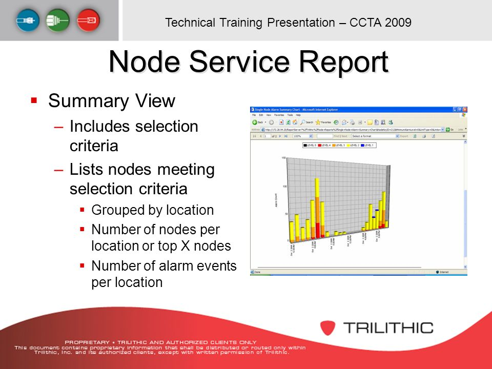 Technical Training Presentation – CCTA 2009 Node Service Report Summary View –Includes selection criteria –Lists nodes meeting selection criteria Grou