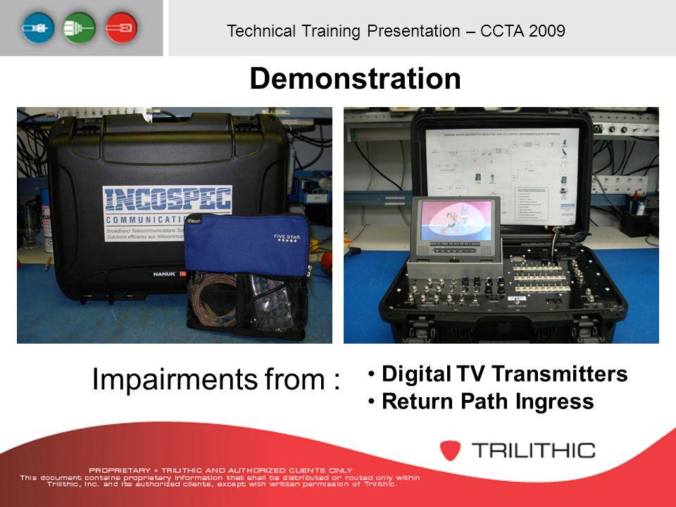 Technical Training Presentation – CCTA 2009 Digital TV Transmitters Return Path Ingress Demonstration Impairments from :