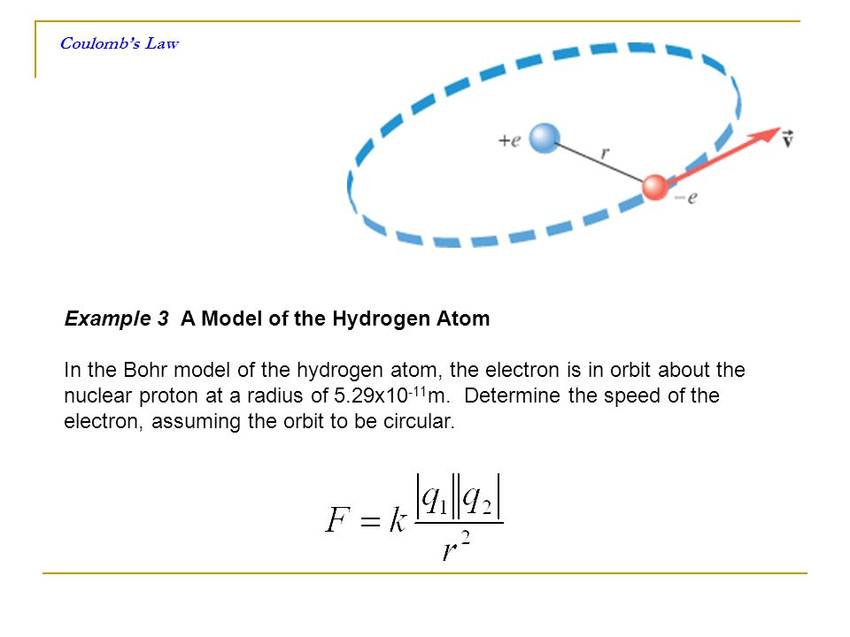 Coulombs Law Example 3 A Model of the Hydrogen Atom In the Bohr model of the hydrogen atom, the electron is in orbit about the nuclear proton at a rad