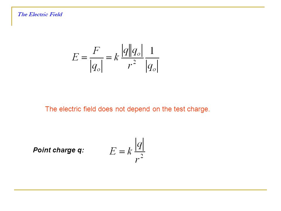The electric field does not depend on the test charge. Point charge q: