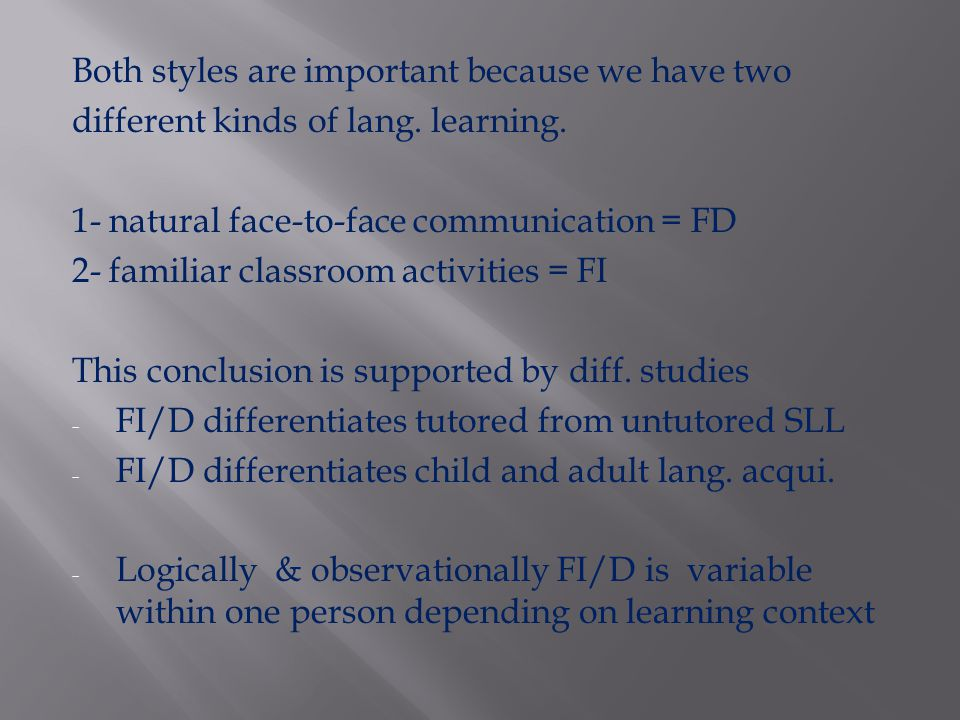 Conclusions in favor of FD depend on anecdotal or observational evidence Why .