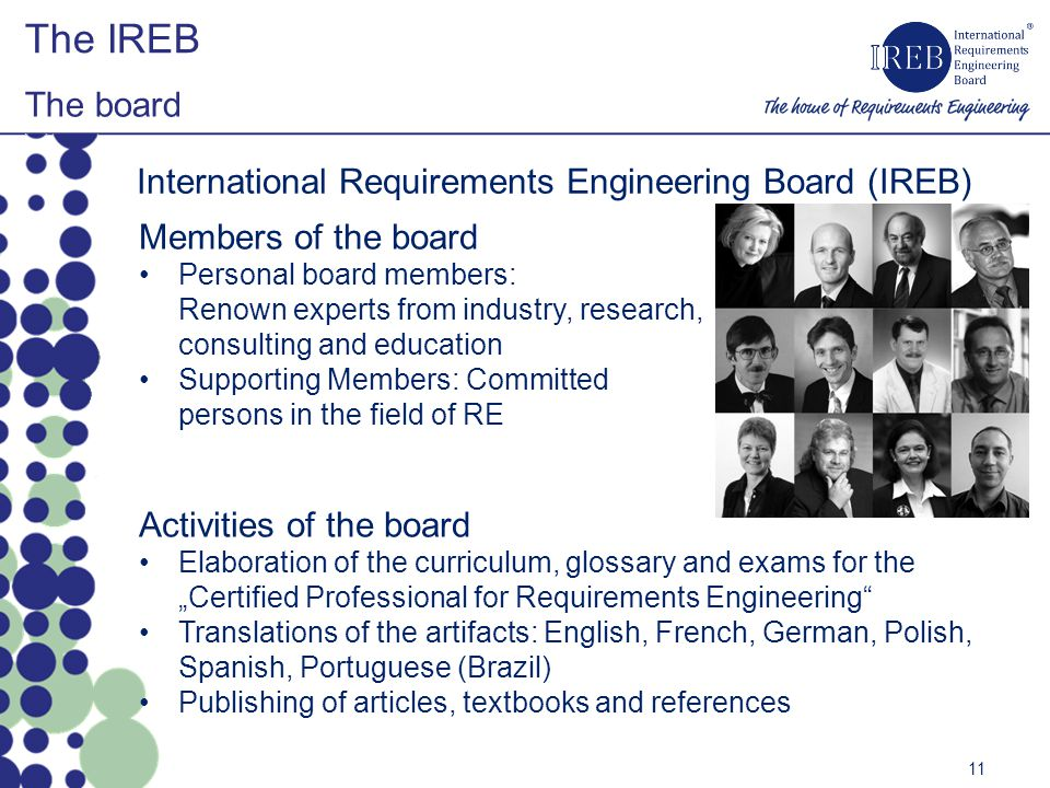 International Requirements Engineering Board (IREB) Members of the board Personal board members: Renown experts from industry, research, consulting and education Supporting Members: Committed persons in the field of RE Activities of the board Elaboration of the curriculum, glossary and exams for the Certified Professional for Requirements Engineering Translations of the artifacts: English, French, German, Polish, Spanish, Portuguese (Brazil) Publishing of articles, textbooks and references The IREB The board 11