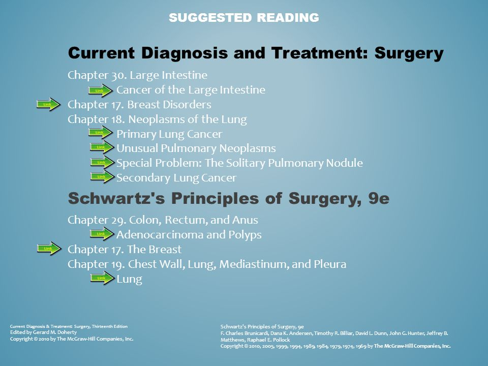 SUGGESTED READING Current Diagnosis & Treatment: Surgery, Thirteenth Edition Edited by Gerard M. Doherty Copyright © 2010 by The McGraw-Hill Companies