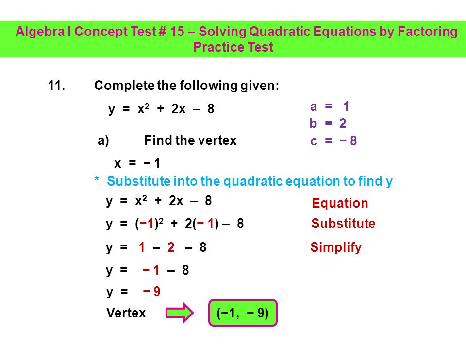 (2) 2(1) y = x 2 + 2x – 8 11.Complete the following given: a) Find the vertex x = b 2a a = 1 b = 2 c = 8 * Identify a, b and c 2 2 x = 1 Formula to find x-value of vertex Simplify x-value of vertex Substitute * The vertex is the highest or lowest point on a parabola Algebra I Concept Test # 15 – Solving Quadratic Equations by Factoring Practice Test
