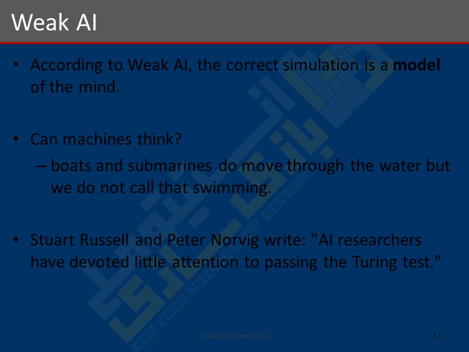 According to Weak AI, the correct simulation is a model of the mind.