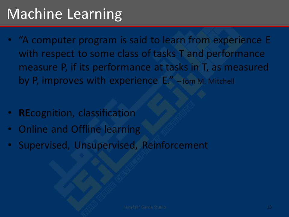 A computer program is said to learn from experience E with respect to some class of tasks T and performance measure P, if its performance at tasks in T, as measured by P, improves with experience E.