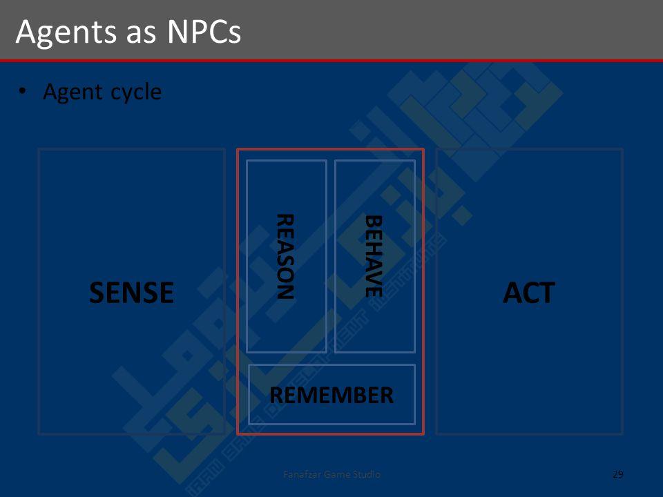 Agent cycle Agents as NPCs 29Fanafzar Game Studio REMEMBER REASON BEHAVE SENSEACT