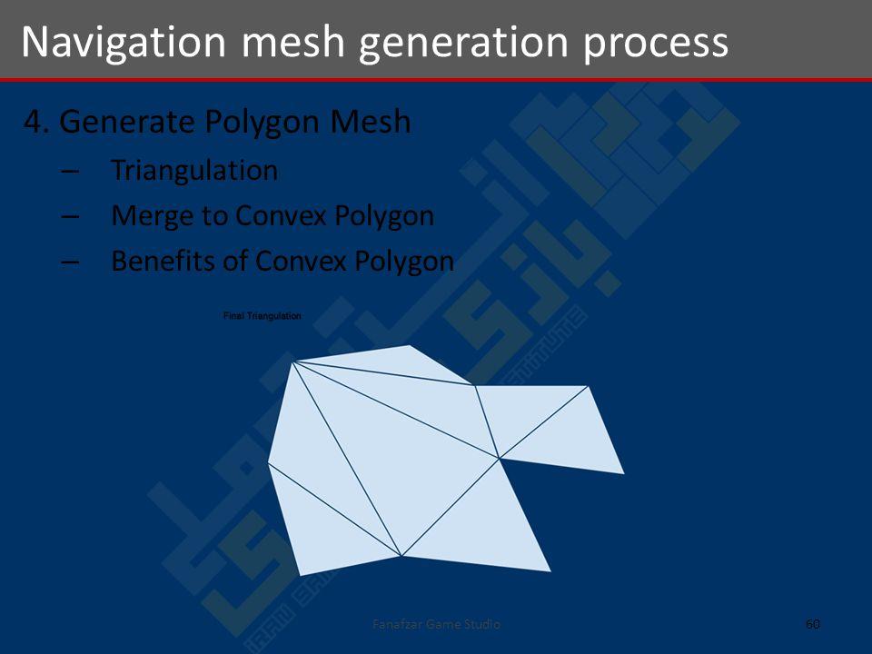 4. Generate Polygon Mesh – Triangulation – Merge to Convex Polygon – Benefits of Convex Polygon Navigation mesh generation process 60Fanafzar Game Stu