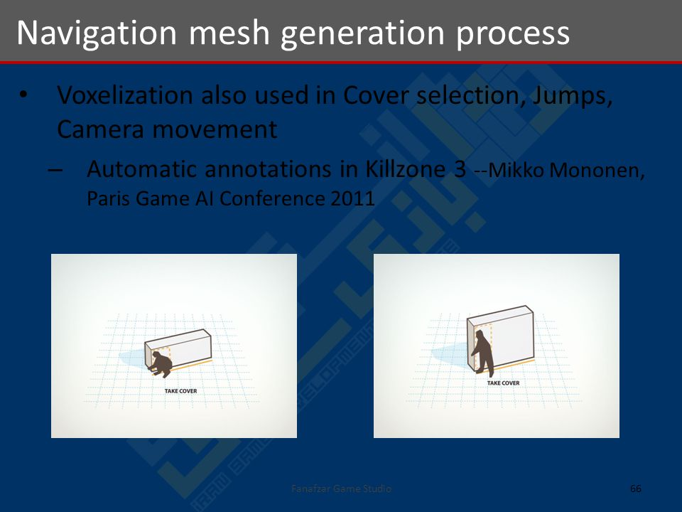 Voxelization also used in Cover selection, Jumps, Camera movement – Automatic annotations in Killzone 3 --Mikko Mononen, Paris Game AI Conference 2011 Navigation mesh generation process 66Fanafzar Game Studio