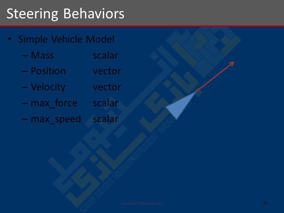 Simple Vehicle Model – Massscalar – Positionvector – Velocityvector – max_forcescalar – max_speed scalar Steering Behaviors 70Fanafzar Game Studio