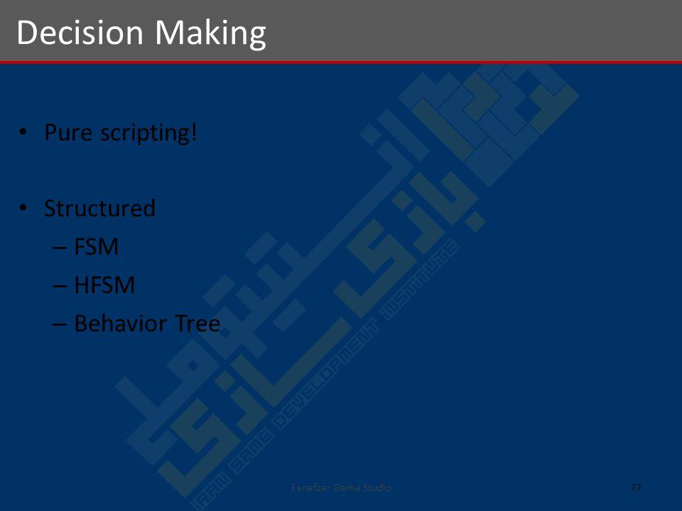 Pure scripting! Structured – FSM – HFSM – Behavior Tree Decision Making 77Fanafzar Game Studio