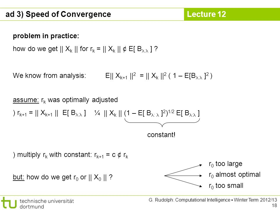 Lecture 12 G. Rudolph: Computational Intelligence Winter Term 2012/13 18 problem in practice: how do we get || X k || for r k = || X k || ¢ E[ B : ] ?