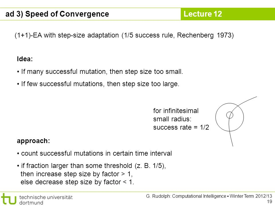 Lecture 12 G. Rudolph: Computational Intelligence Winter Term 2012/13 19 (1+1)-EA with step-size adaptation (1/5 success rule, Rechenberg 1973) Idea: