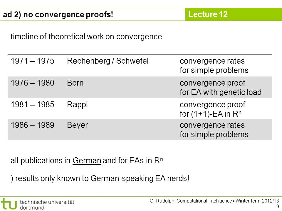 Lecture 12 G. Rudolph: Computational Intelligence Winter Term 2012/13 9 ad 2) no convergence proofs! timeline of theoretical work on convergence 1971