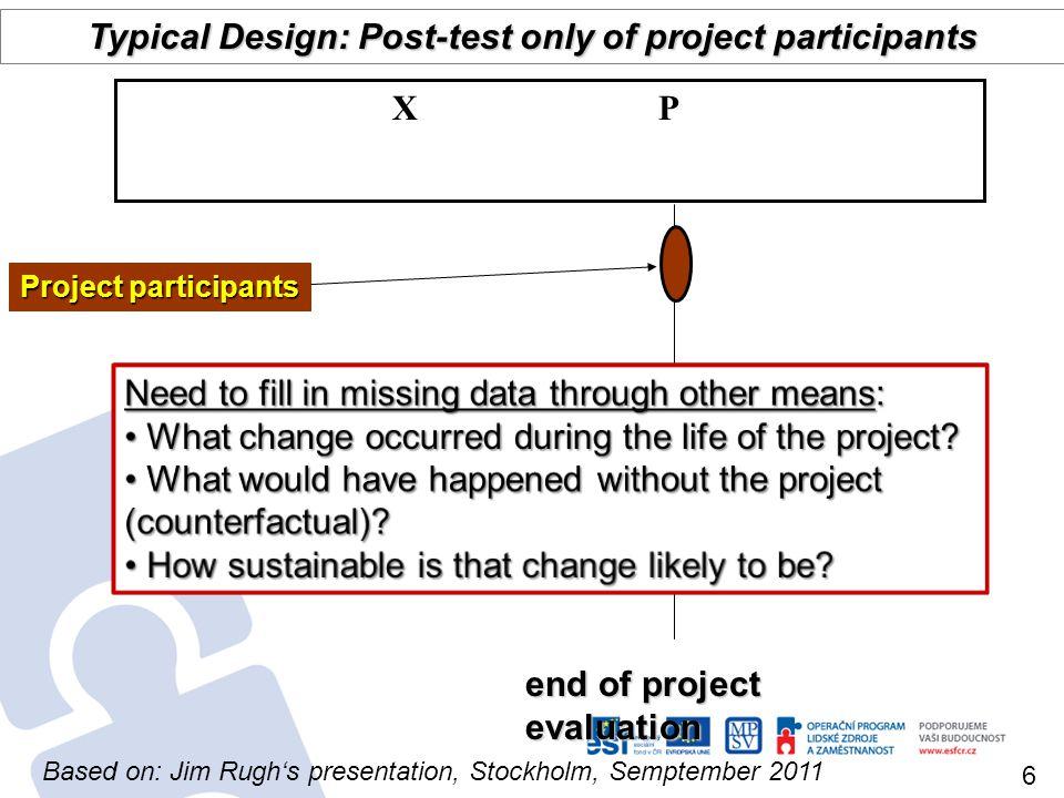 baseline end of project evaluation Comparison group post project evaluation Longitudinal Quasi-experimental P 1 X P 2 X P 3 P 4 C 1 C 2 C 3 C 4 Project participants midterm 7 Source: Jim Rughs presentation, Stockholm, Semptember 2011