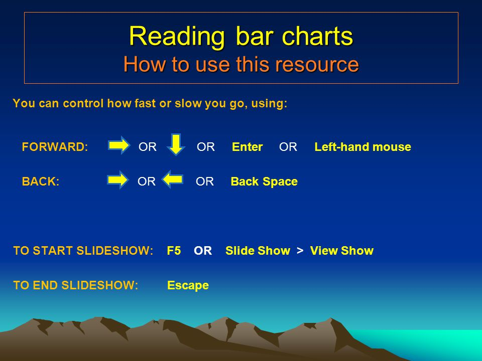 Reading bar charts How to use this resource You can control how fast or slow you go, using: FORWARD: OR OR Enter OR Left-hand mouse BACK: OR OR Back Space TO START SLIDESHOW: F5 OR Slide Show > View Show TO END SLIDESHOW: Escape