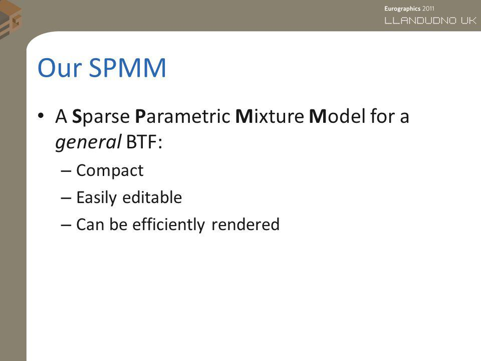 Our SPMM A Sparse Parametric Mixture Model for a general BTF: – Compact – Easily editable – Can be efficiently rendered