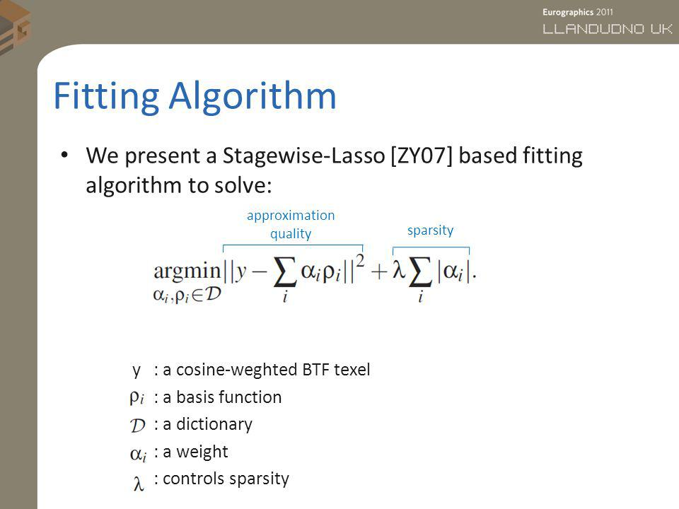 Fitting Algorithm We present a Stagewise-Lasso [ZY07] based fitting algorithm to solve: y : a cosine-weghted BTF texel : a basis function : a dictiona