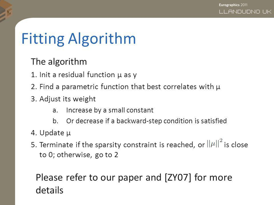 Fitting Algorithm The algorithm 1.Init a residual function µ as y 2.Find a parametric function that best correlates with µ 3.Adjust its weight a.Incre