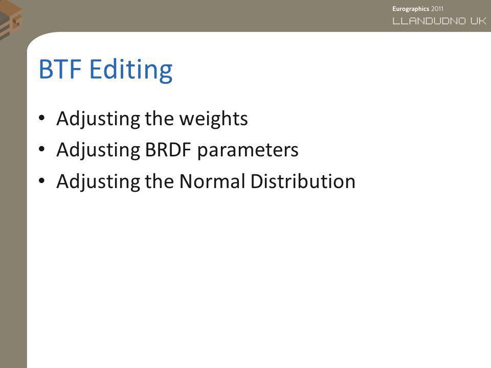 BTF Editing Adjusting the weights Adjusting BRDF parameters Adjusting the Normal Distribution
