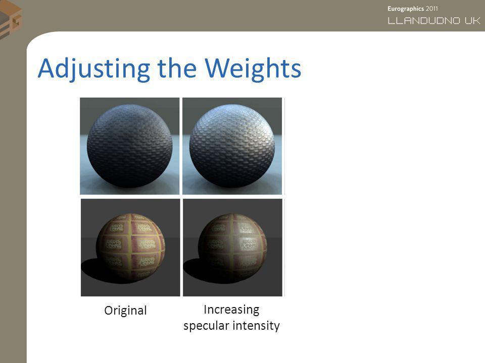 Adjusting the Weights Original Increasing specular intensity