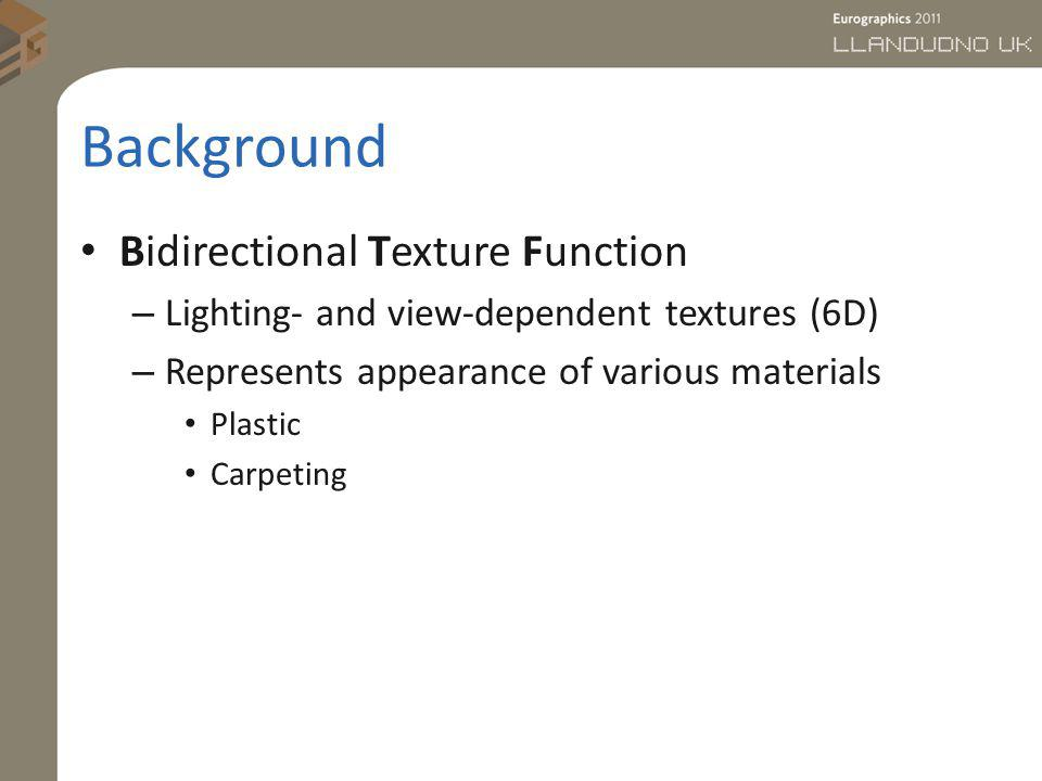 Background Bidirectional Texture Function – Lighting- and view-dependent textures (6D) – Represents appearance of various materials Plastic Carpeting