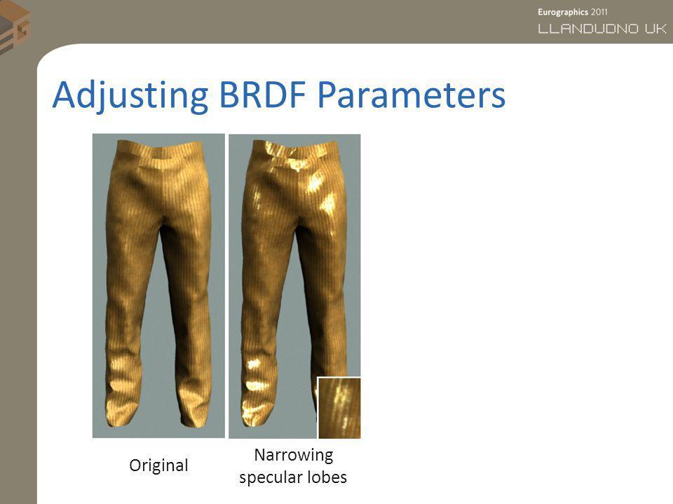 Adjusting BRDF Parameters Original Narrowing specular lobes