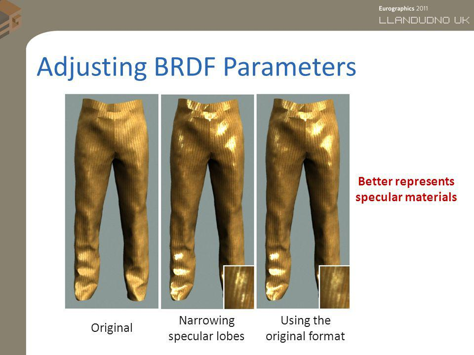 Adjusting BRDF Parameters Original Narrowing specular lobes Using the original format Better represents specular materials