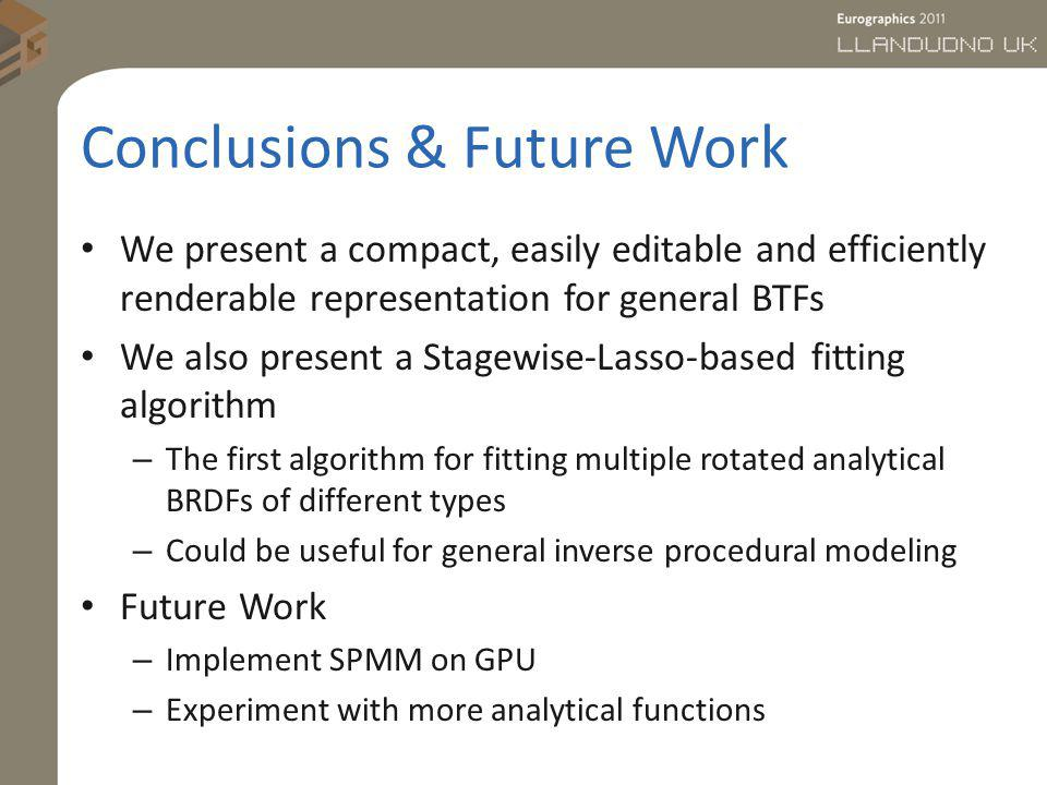 Conclusions & Future Work We present a compact, easily editable and efficiently renderable representation for general BTFs We also present a Stagewise
