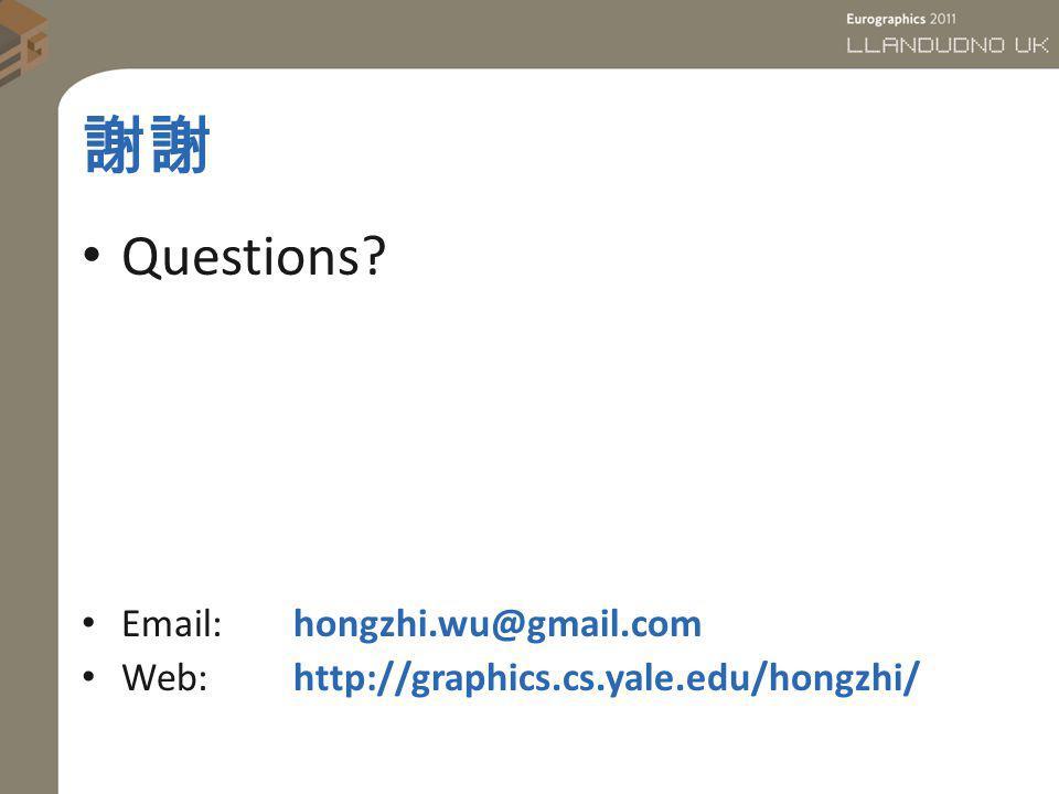 Questions? Email: hongzhi.wu@gmail.com Web:http://graphics.cs.yale.edu/hongzhi/
