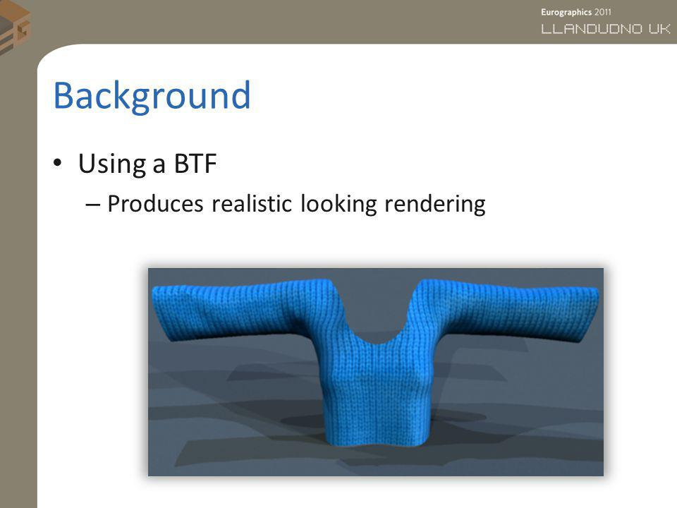 Background Using a BTF – Produces realistic looking rendering