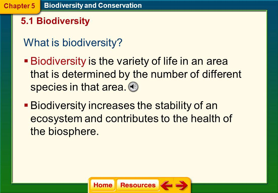 Click on a lesson name to select. Chapter 5 Biodiversity and Conservation Section 1: Biodiversity Section 2: Threats to Biodiversity Section 3: Conser
