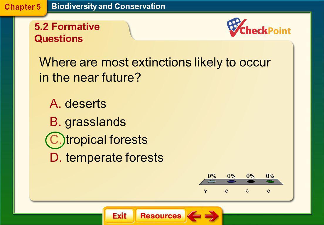 1.A 2.B 3.C 4.D FQ 4 Biodiversity and Conservation Chapter 5 A. background extinction B. mass extinction C. natural extinction D. progressive extincti