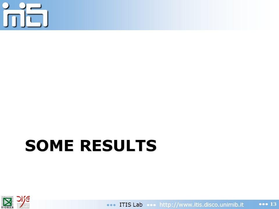 SOME RESULTS ITIS Lab http://www.itis.disco.unimib.it 13