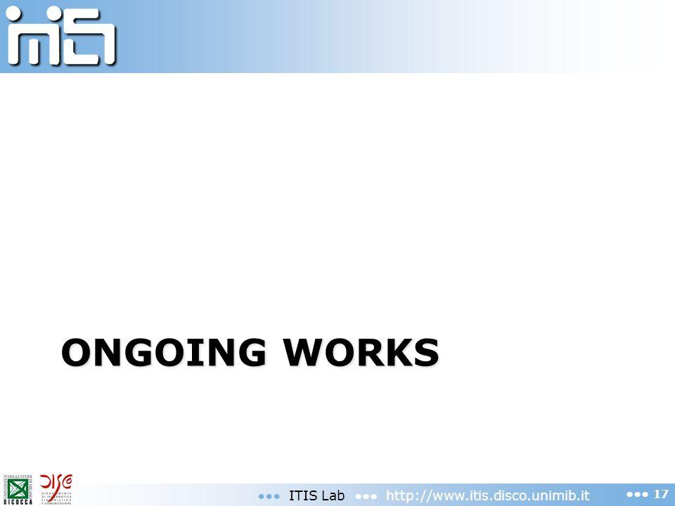 ONGOING WORKS ITIS Lab http://www.itis.disco.unimib.it 17