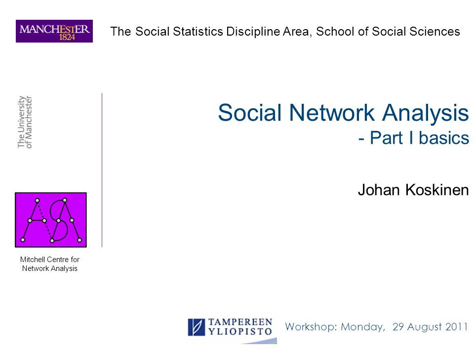 Social Network Analysis - Part I basics Johan Koskinen Workshop: Monday, 29 August 2011 The Social Statistics Discipline Area, School of Social Sciences Mitchell Centre for Network Analysis