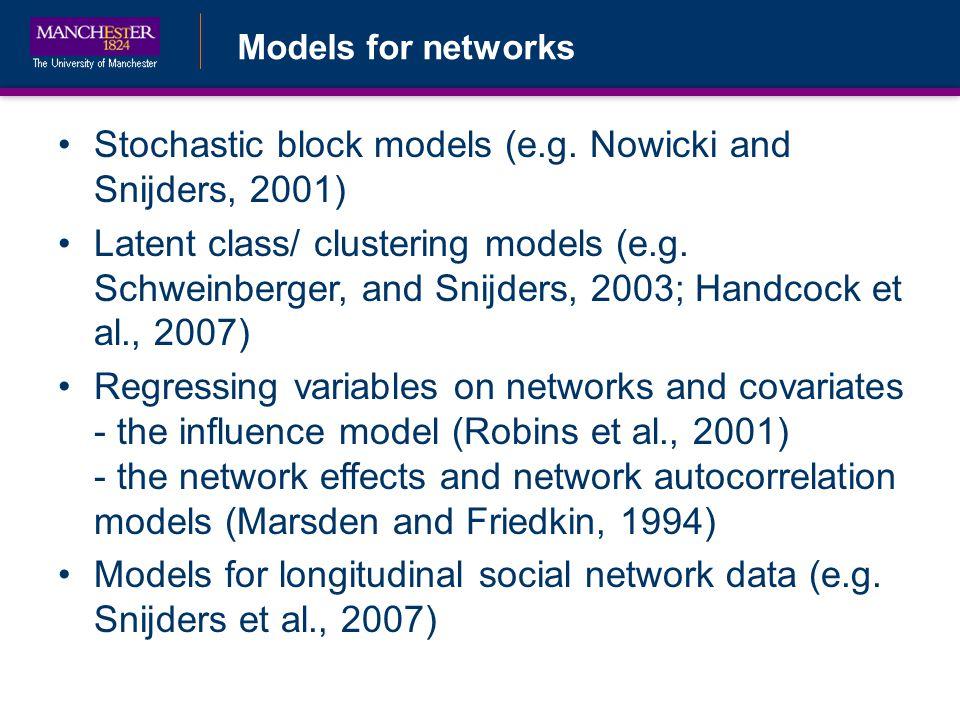 Models for networks Stochastic block models (e.g.