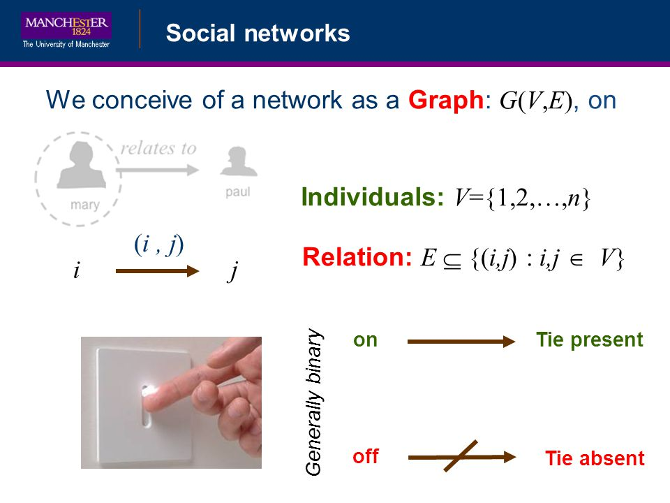 Social networks We conceive of a network as a Graph: G(V,E), on on off Generally binary Tie present Tie absent Individuals: V={1,2,…,n} Relation: E {(i,j) : i,j V} i (i, j) j